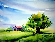 Watercolor Paintings Nature, Indian Art Paintings, Watercolor Artists, Watercolor Print, Watercolor Illustration, Mural Art, Landscape Art, Art Pictures, Les Oeuvres