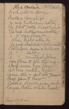 Mrs. Bradley's 1918 Rye Bread. Make a sponge of 1/2 cup lukewarm water, 1/2 yeast cake dissolved in 1/4 cup lukewarm water, 1 c rye flour. When light, stir in 1/2 cup scalded & cooled milk, 1 tablespoon sugar or molasses, 1/2 Tbsp salt 3 Tbsp cornstarch plus rye flour to fill the cup, 1 cup more rye flour. Let rise until light -- Again stir & put into greased loaf pan to rise -- Bake in slower oven and longer than white bread