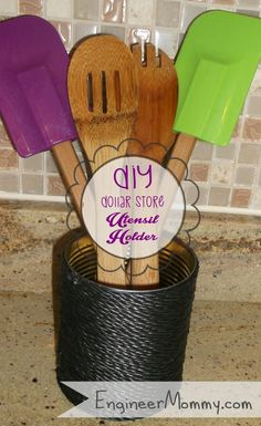 I used supplies from the dollar store to make this super easy utensil holder- perfect for holding spatulas, whisks and other kitchen utensils! This is what I st…