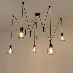 Beauty of hanging lamps for ceiling in living room Spider Pendant Lights Led Spider Light Modern Lamp Single Pulley Pendant Light Ceiling Hanging Lamp Contemporary Pendant Lamps Rope Hanging Drop Ceiling Rustic Light Fixtures, Rustic Lighting, Pendant Light Fixtures, Lighting Ideas, Pulley Pendant Light, Modern Pendant Light, Pendant Lights, Pendant Lamps, Ceiling Pendant