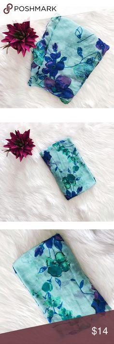 Cynthia Rowley Blue Floral Print Scarf A Cynthia Rowley Accessories Scarves & Wraps
