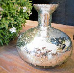 Vase Glas silber Bauernsilber