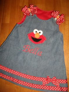 Denim Elmo Jumper Dress embroidered with your child's name