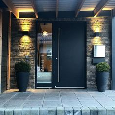 Modern Entrance Door, House Entrance, House Front Door, Door Design, Exterior Design, Backyard, Patio, Modern Design, New Homes