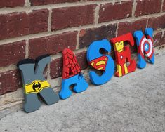 This is too cute! What a great idea for a super hero room! Avengers/Marvel Wooden Letters on Etsy, $10.00