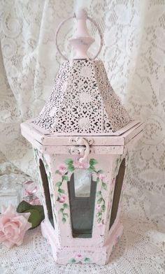 ROMANTIC RUSTIC CHIC LANTERN hp roses shabby vintage cottage hand painted pink   #Unbranded