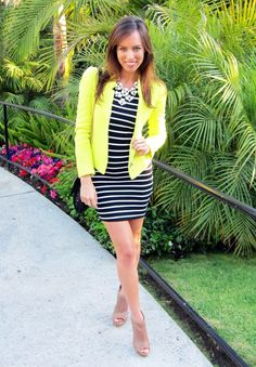 Neon blazer to bring out a striped dress. Add some nude ...