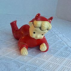 Vintage Ceramic Little Devil Figurine / Hand Painted Devil Made in Japan by vintagepoetic on Etsy