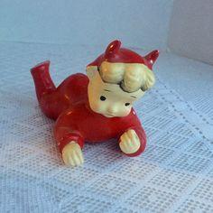 Vintage Ceramic Little Devil Figurine / Hand Painted Devil Made in Japan by vintagepoetic on Etsy