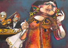 G.B.38 | Om Kolthoum from Heaven III | Mixed Media on Canvas | 100 x 100 cm | 2012 GEORGES BAHGORY