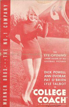 * COLLEGE COACH (1933) Warner Bros. Pressbook Dick Powell, Ann Dvorak & Football