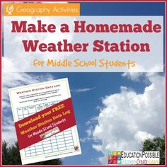 As part of your middle school geography lesson plans, make a homemade weather station. Teaching Weather, Weather Science, Weather Activities, Weather And Climate, Teaching Science, Weather Unit, Weather Crafts, Science Experiments, Montessori Science