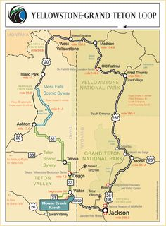 talk about a dream bike touring spot - Travel Image Yellowstone Vacation, Yellowstone National Park, West Yellowstone, Road Trip Map, Road Trips, Voyage Usa, Grand Teton National Park, National Parks, Jackson Hole Wyoming