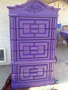 Purple Dresser - The Transformation - Building a Kingston Castle Purple Love, Purple Lilac, All Things Purple, Shades Of Purple, Deep Purple, Purple Stuff, Periwinkle, Purple Dresser, Crystals