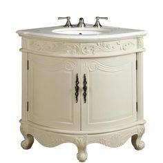 Bathroom Vanity Bayview 24-Inch Corner Vanity Bc-030c ($749) ❤ liked on Polyvore featuring bathroom, bathroom vanities, home & living and silver