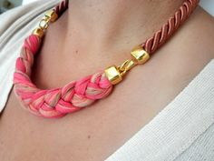 rope necklace in warm fall colors by beYOUtifulhandmade on Etsy, $35.00
