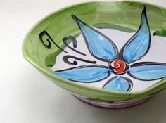 Majolica Earthenware Pottery Clay Blue Mod by ClayLickCreekPottery, $30.00