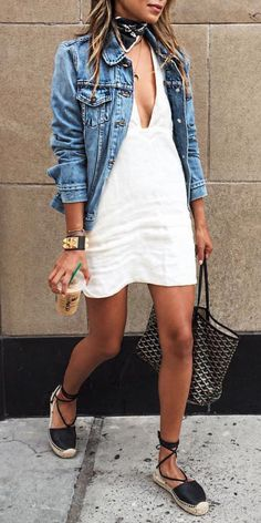 Denim jean jacket, white dress, black leather espadrilles, bandana neck scarf, Goyard tote bag - spring summer outfit
