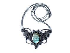 bat macrame necklace