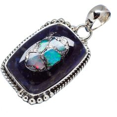 """Rough Mexican Fire Opal Sodalite Composite 925 Sterling Silver Pendant 1 1/2"""" PD562221"""