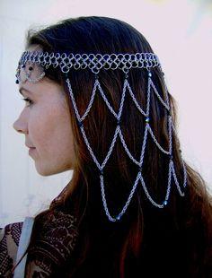 Chainmail headdress/crown Jet Black AB. $95.00, via Etsy.