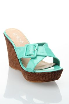 Westwood Victoria-03 Slip On Wedge Sandal in Mint - Beyond the Rack $60.00
