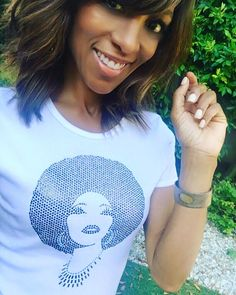 "Shaun Robinson of Access Hollywood wearing our ""Foxy Black Diamond"" T"