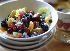 Chakra Fruit Salad with Enlightened Tahini Sauce -- seriously amazing