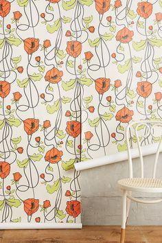 Slide View: 2: Draping Poppies Wallpaper