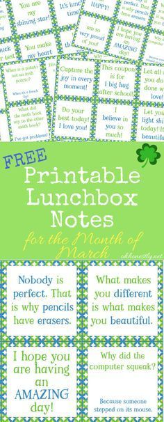 Give your kids a midday pick-me-up with these fun, encouraging, and free printable lunchbox notes. They're perfect for the month of March, with a few you'll love for St. Patrick's Day!
