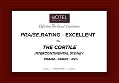 The Cortile At Intercontinental Hotel Sydney Gets A Praise Rating Of Excellent With