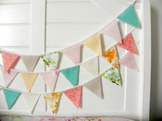 Pink Aqua And Peach Vintage Fabric Bunting