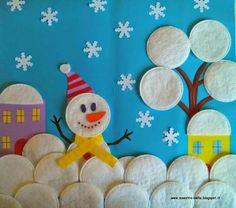 Sneeuwpop van wattenstaafjes