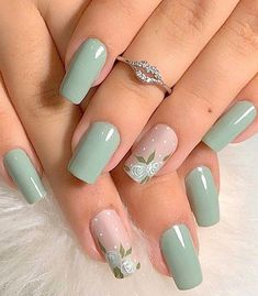 40 Cool Green Nail Art Designs Ideas That Will Inspire You Stylish Nails, Trendy Nails, Beauty Nail, Mint Nails, Mint Green Nails, Glitter Nails, Green Nail Art, Acrylic Nails Green, Mint Nail Art