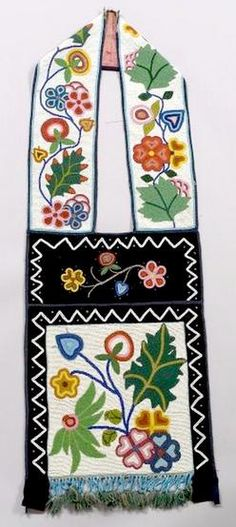 bandolier bags for auction | An Ojibwa beaded cloth bandolier bag with floral design; image credit ...