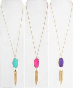 Kendra Scott Rayne Stone Tassel Pendant Necklace (in 9 colors)