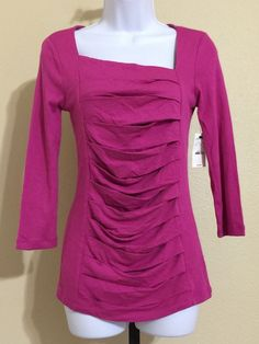 """Express Women's """"Sexy Basic"""" Pink Fuchsia Blouse Size S NWT #Express #KnitTop #Casual"""