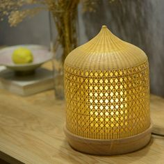 Pastoral Bamboo Weaving Desklamp - this Bamboo LED Desklamp looks perfect when you put it on your desk in your nice bedroom or studyroom.