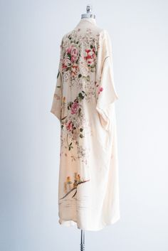 Overview Care Shipping DESCRIPTION: Rare antique kimono robe with detailed colorful embroidery over raw silk. Lined with silk. Vintage Outfits, Vintage Fashion, Vintage Kimono, Japanese Embroidery, Silk Kimono, Kurta Designs, Japanese Kimono, Kimono Fashion, Cotton Linen