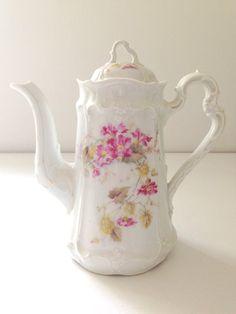 Antique Tea Pot by Carl Tielsch by MariasFarmhouse, Chocolate Pots, Chocolate Coffee, Vintage Tea, Vintage Silver, Vintage China, Cafetiere, Teapots And Cups, My Tea, Tea Party
