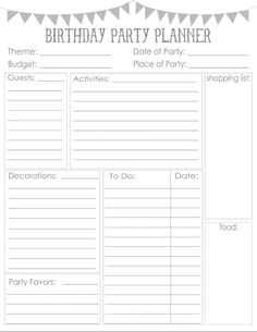 Free Printable Birthday Party Checklist Form  Birthdays And