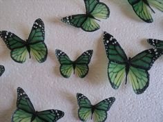 15 Large EDIBLE BUTTERFLIES Green Monarch Cut Your Own & SAVE Wedding Birthday or Baby Shower Cakes or Cupcakes 100 percent edible butterfly. Etsy