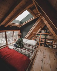 49 Stylish Loft Bedroom Design Ideas is part of A frame house - Do you want to extend the living capacity of your home, then why not convert your loft space into a […] A Frame Cabin, A Frame House, Ravens Home, Attic Rooms, Attic Bathroom, Attic Playroom, Attic Library, Attic House, Attic Office