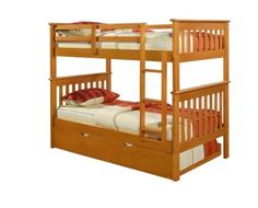 Bunk Bed Twin over Twin Mission style in Honey with Twin Trundle  http://www.furnituressale.com/bunk-bed-twin-over-twin-mission-style-in-honey-with-twin-trundle/