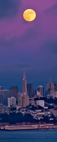 Full moon over San Francisco, USA