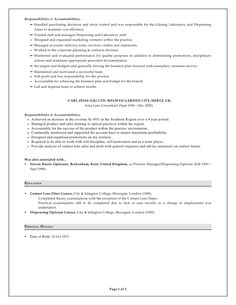 this example optician resume sample we will give you a refence start on building resumeyou can optimized this example resume on creating resume for your