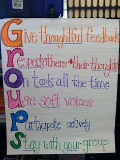 Anchor chart for how to work in groups