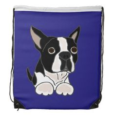 Funny Boston Terrier Puppy Dog Art Cinch Bag #Bostonterriers #dogs #backpacks #funny #pets And www.zazzle.com/petspower*