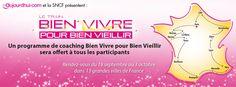 Aujourdhui.com vous invite à participer à un événement exceptionnel et entièrement gratuit :  LE TRAIN DU BIEN VIVRE POUR BIEN VIEILLIR    Du 18 septembre au 3 octobre 2012 ce train du bien vivre va sillonner la France pour vous informer sur un sujet de plus en plus important aujourd'hui en France : Comment bien vieillir.    Plus de détails à ce lien : https://www.facebook.com/events/422022301176692/