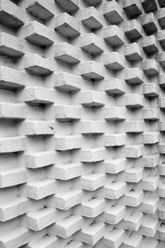 A unique patterned brick wall at the Louisiana Museum of Modern Art, Humlebaek, Denmark